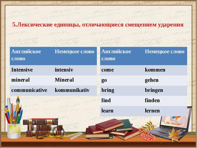 5.Лексические единицы, отличающиеся смещением ударения Английское слово Неме...