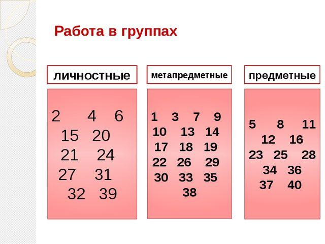 Работа в группах 2 4 6 15 20 21 24 27 31 32 39 1 3 7 9 10 13 14 17 18 19 22...