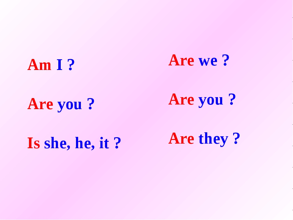 Am I ? Are you ? Is she, he, it ? Are we ? Are you ? Are they ?