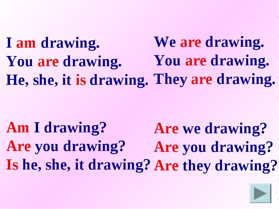 I am drawing. You are drawing. He, she, it is drawing. We are drawing. You ar...
