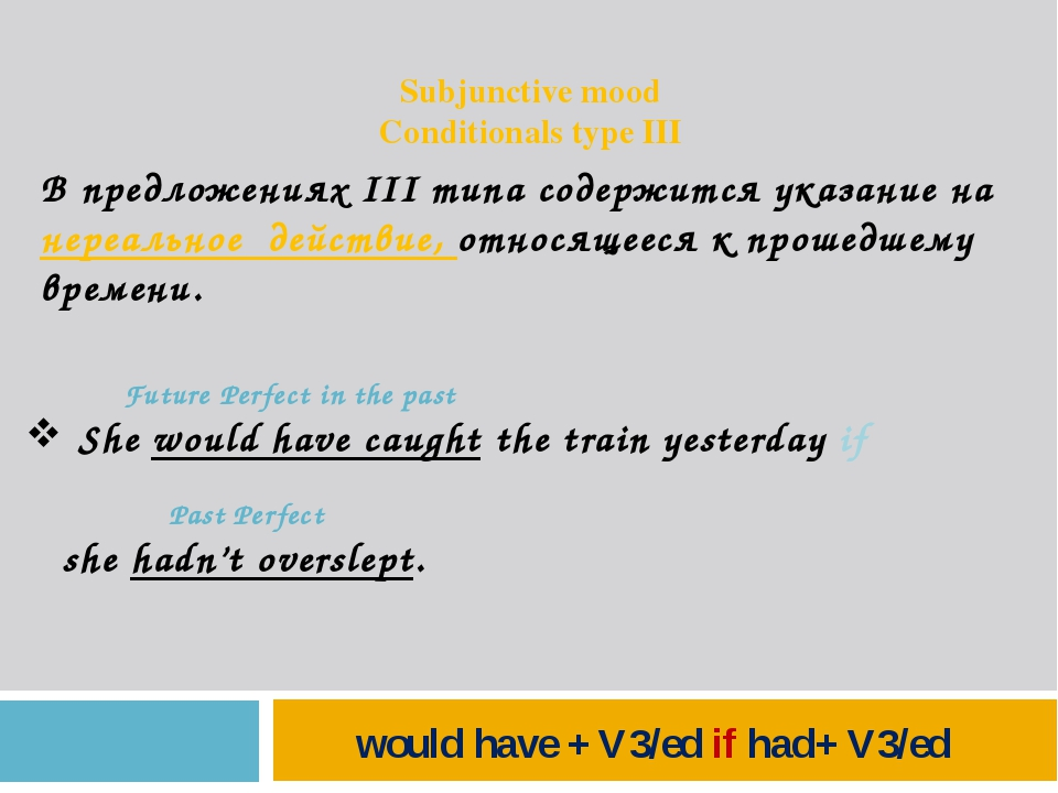 Subjunctive mood Conditionals type III В предложениях III типа содержится ук...