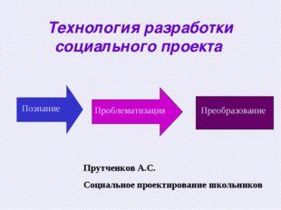 Технология разработки социального проекта Познание Проблематизация Преобразов