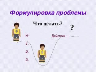 Формулировка проблемы ? Что делать? №Действия 1. 2. 3.