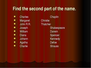 Find the second part of the name.  Charles			Chaplin Margaret 		Christie John