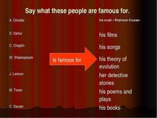 Say what these people are famous for. Is famous for