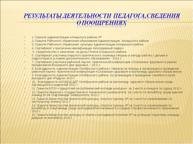 1. Грамота Администрации Алнашского района УР 2. Грамота Районного Управления...