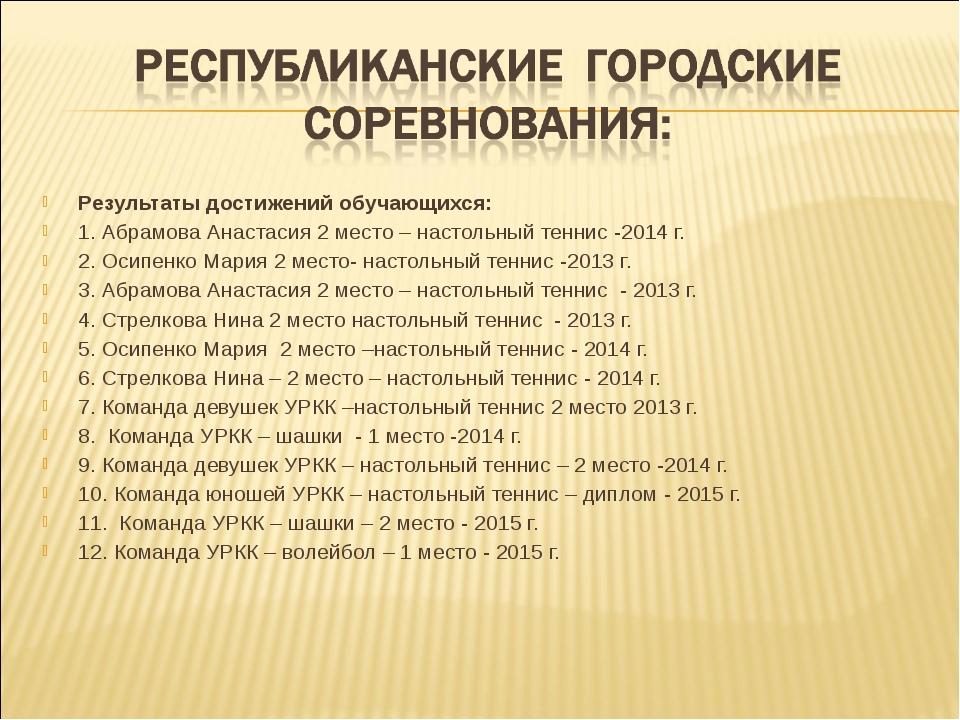 Результаты достижений обучающихся: 1. Абрамова Анастасия 2 место – настольны...