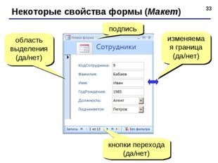 * Некоторые свойства формы (Макет) подпись кнопки перехода (да/нет) область в