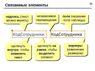 * Связанные элементы надпись (текст можно менять) поле (название поля таблицы
