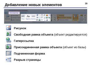 * Добавление новых элементов Рисунок Свободная рамка объекта (объект редактир