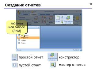* Создание отчетов таблица или запрос (ЛКМ) простой отчет конструктор пустой