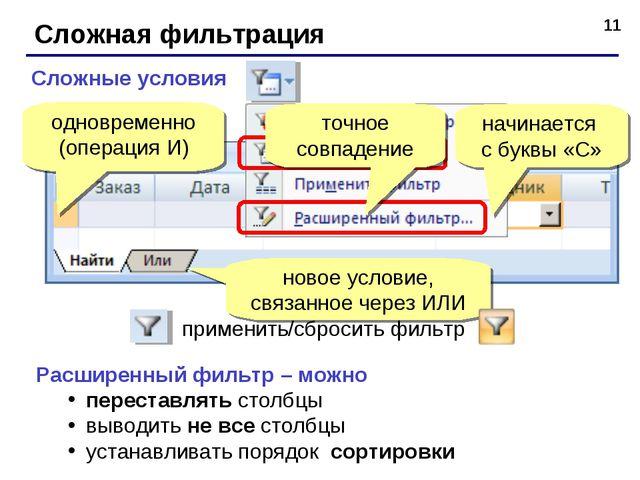 * Сложная фильтрация Сложные условия одновременно (операция И) начинается с б...