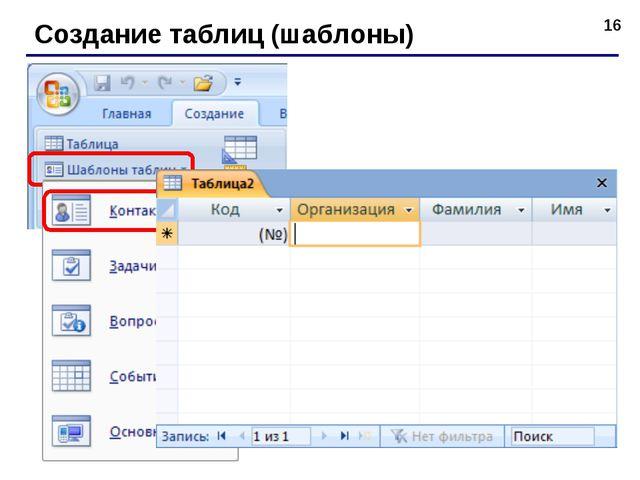 * Создание таблиц (шаблоны)
