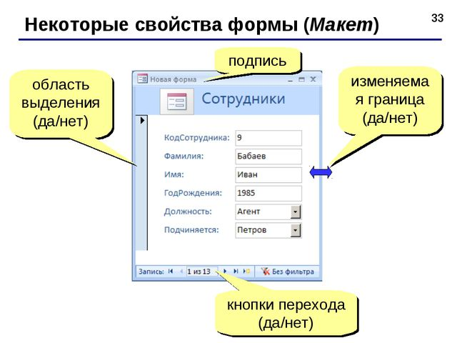 * Некоторые свойства формы (Макет) подпись кнопки перехода (да/нет) область в...