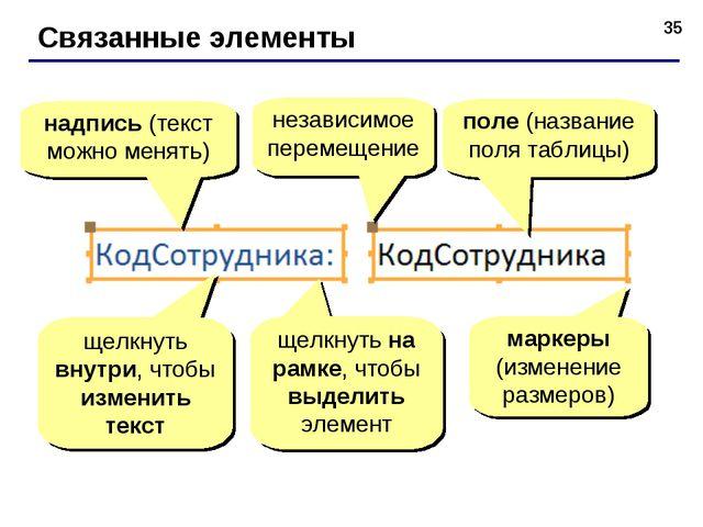 * Связанные элементы надпись (текст можно менять) поле (название поля таблицы...