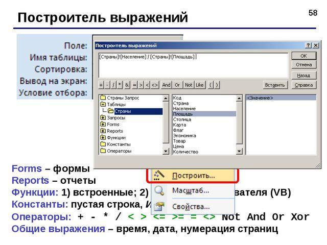 * Построитель выражений Forms – формы Reports – отчеты Функции: 1) встроенные...