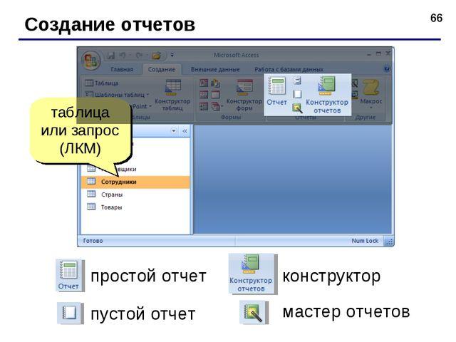 * Создание отчетов таблица или запрос (ЛКМ) простой отчет конструктор пустой...