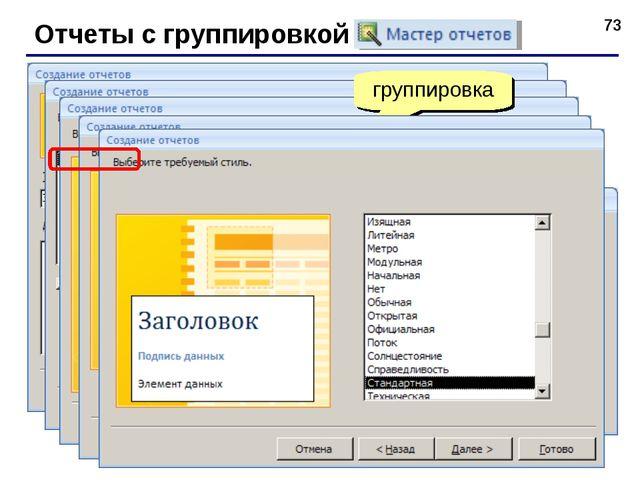 * Отчеты с группировкой (мастер) итоговые данные сортировка группировка