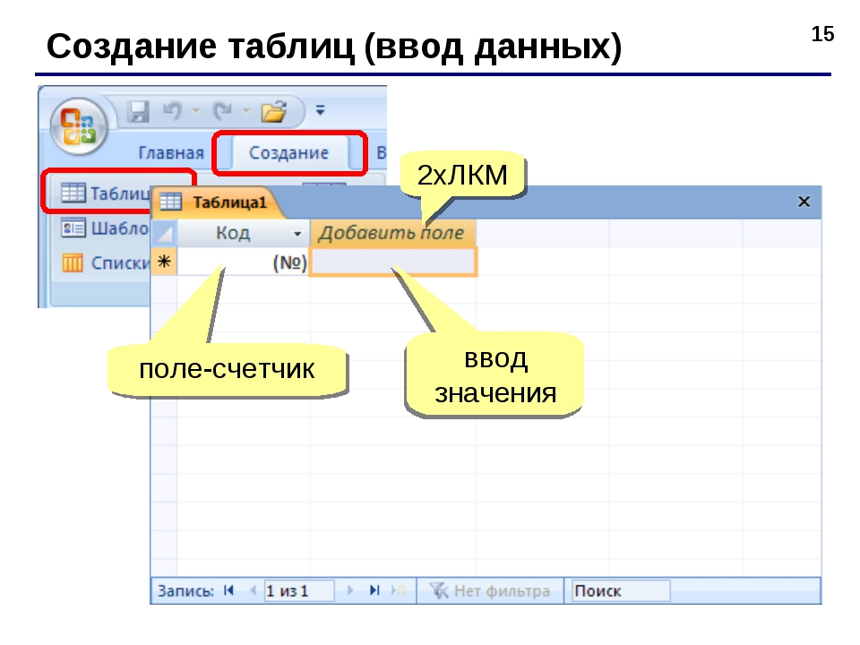* Создание таблиц (ввод данных) 2xЛКМ поле-счетчик ввод значения