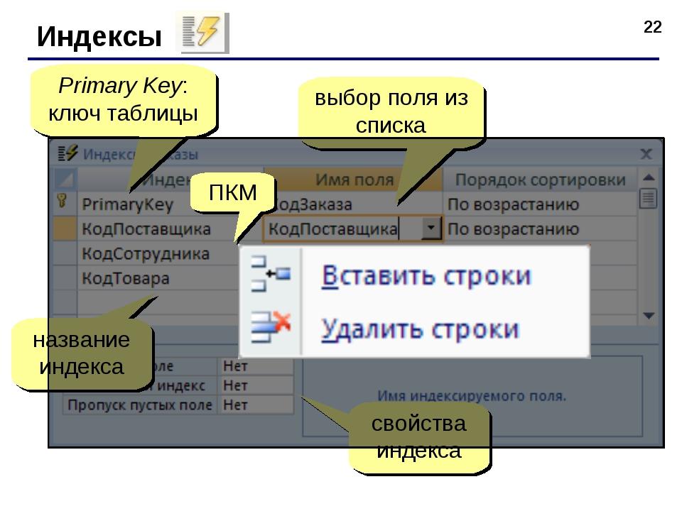 * Индексы Primary Key: ключ таблицы выбор поля из списка название индекса сво...