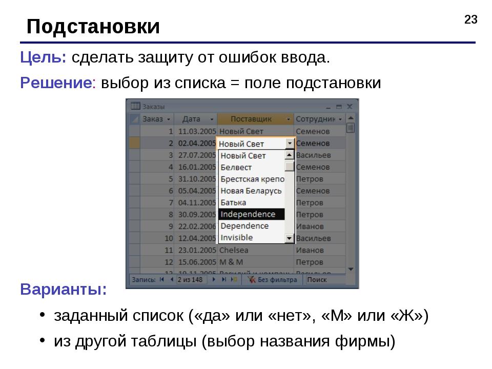 * Подстановки Цель: сделать защиту от ошибок ввода. Решение: выбор из списка...