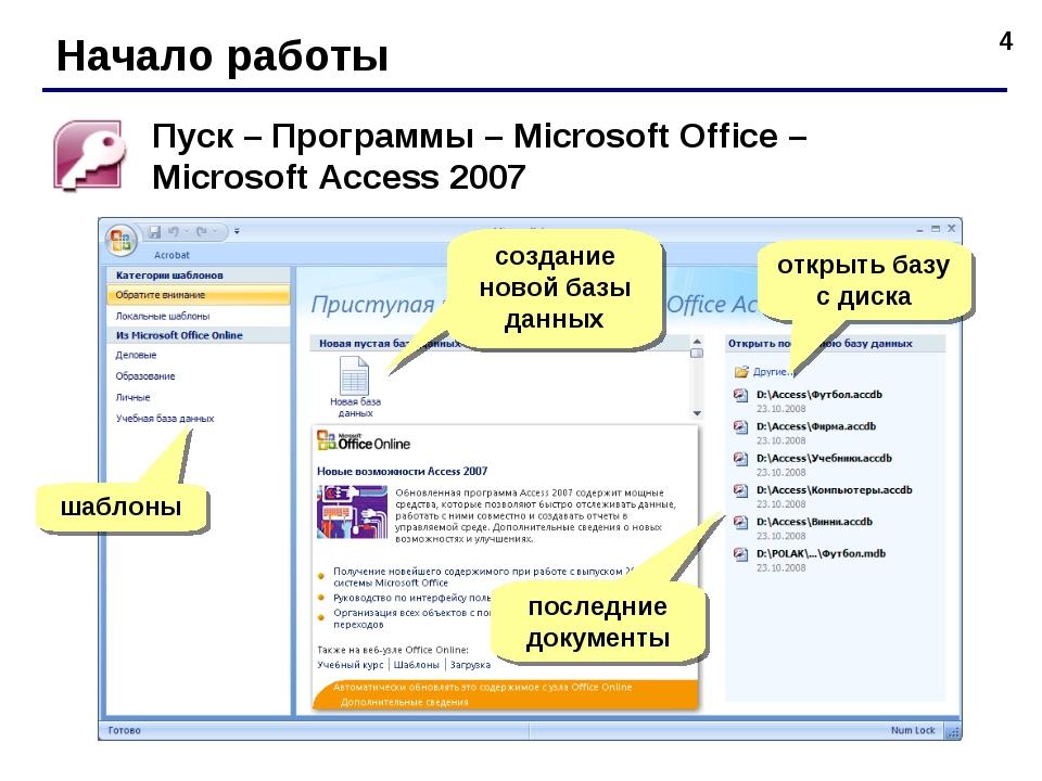 * Начало работы Пуск – Программы – Microsoft Office – Microsoft Access 2007 ш...