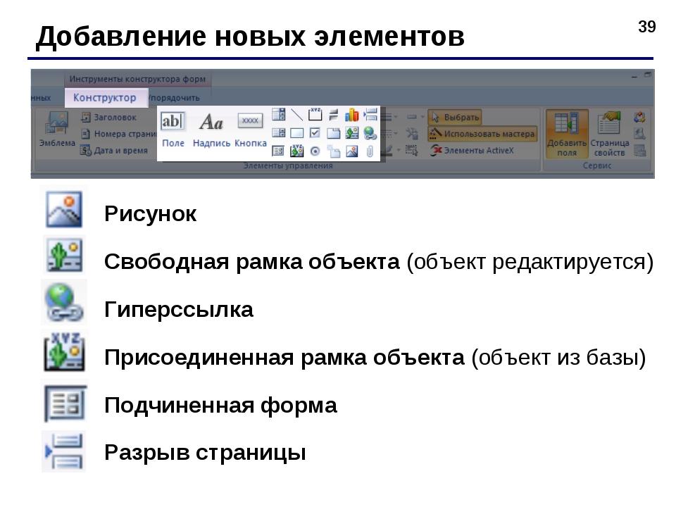 * Добавление новых элементов Рисунок Свободная рамка объекта (объект редактир...