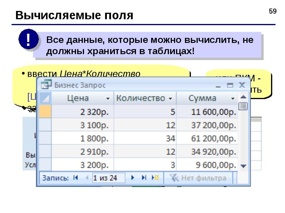 * Вычисляемые поля ввести Цена*Количество Выражение1: [Цена]*[Количество] зам...