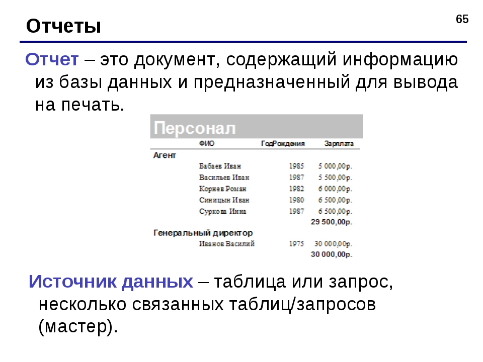* Отчеты Отчет – это документ, содержащий информацию из базы данных и предназ...