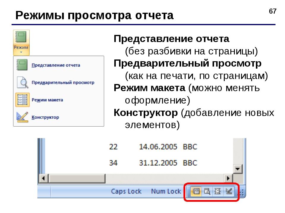 * Режимы просмотра отчета Представление отчета (без разбивки на страницы) Пре...