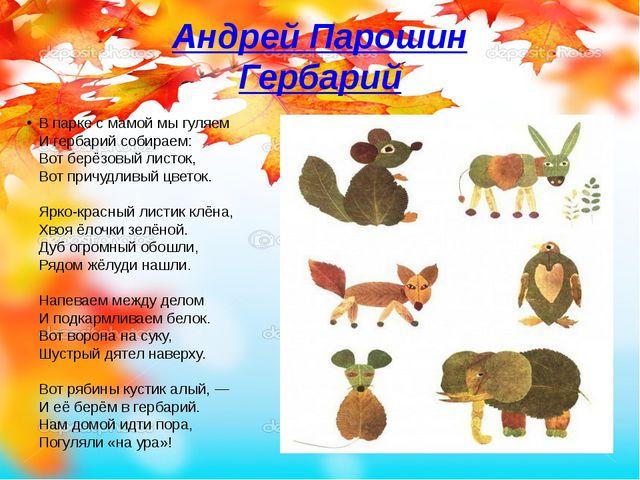 Андрей Парошин Гербарий В парке с мамой мы гуляем И гербарий собираем: Вот бе...