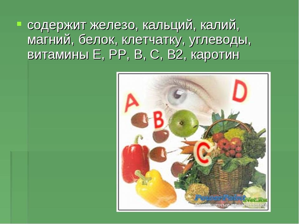 содержит железо, кальций, калий, магний, белок, клетчатку, углеводы, витамины...