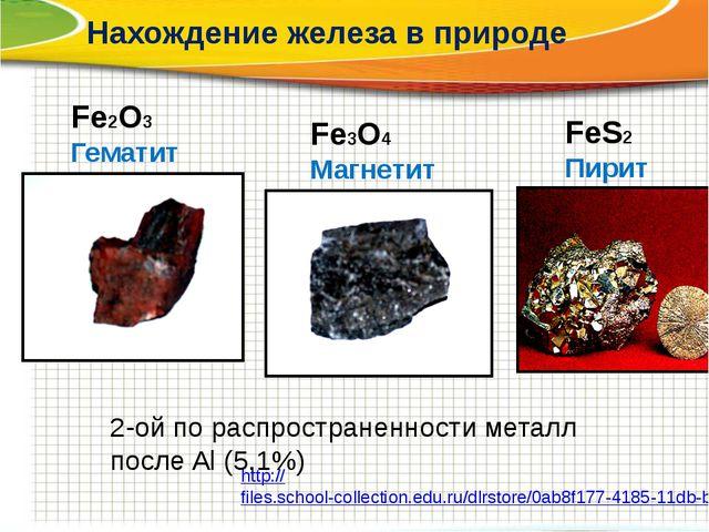 Нахождение железа в природе Fe3O4 Магнетит Fe2O3 Гематит FeS2 Пирит 2-ой по р...