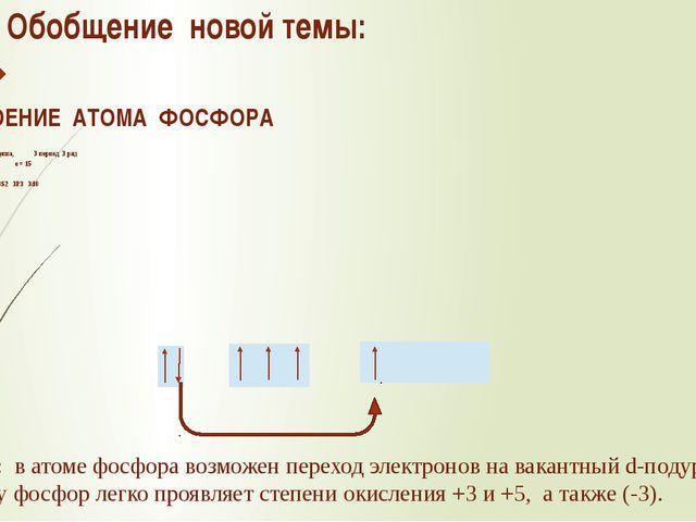 Обобщение новой темы: 1.СТРОЕНИЕ АТОМА ФОСФОРА Ar=31 V группа, главная подгру...