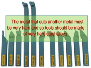 The metal that cuts another metal must be very hard and so tools should be m