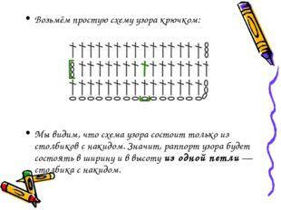 Возьмём простую схему узора крючком: Мы видим, что схема узора состоит только