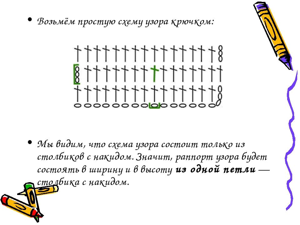 Возьмём простую схему узора крючком: Мы видим, что схема узора состоит только...