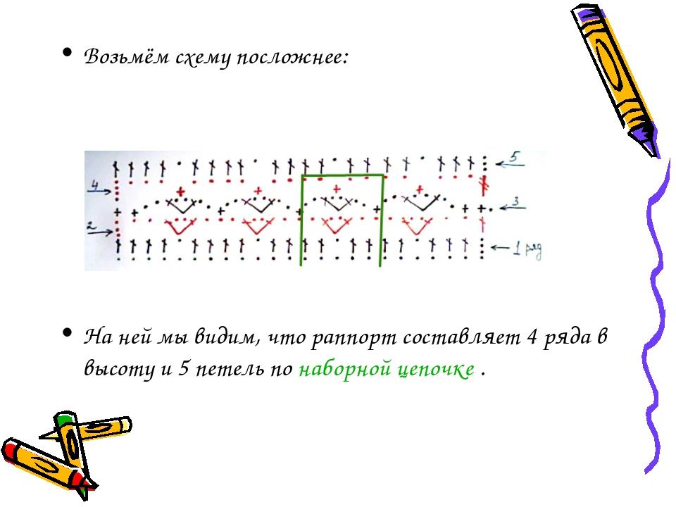 Возьмём схему посложнее: На ней мы видим, что раппорт составляет 4 ряда в выс...