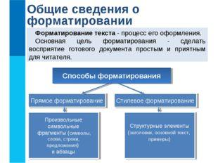 Общие сведения о форматировании Форматирование текста - процесс его оформлени