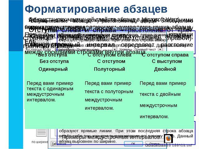 Форматирование абзацев Абзац - это часть документа между двумя соседними непе...