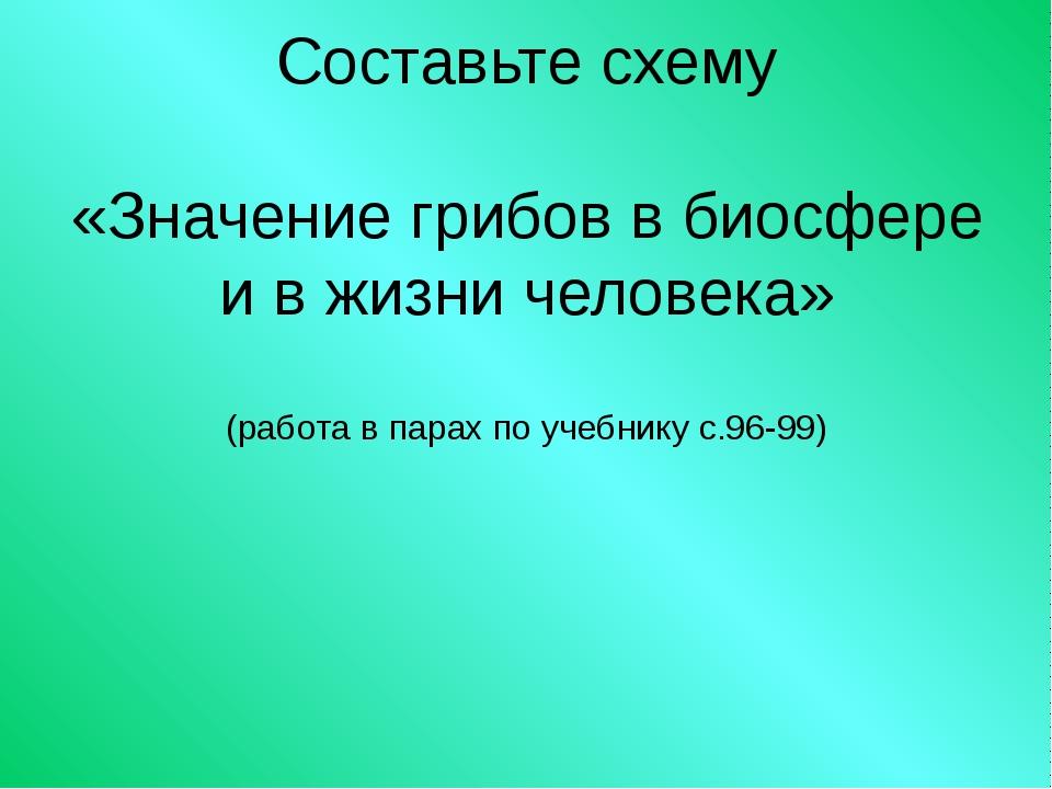 Составьте схему «Значение грибов в биосфере и в жизни человека» (работа в пар...