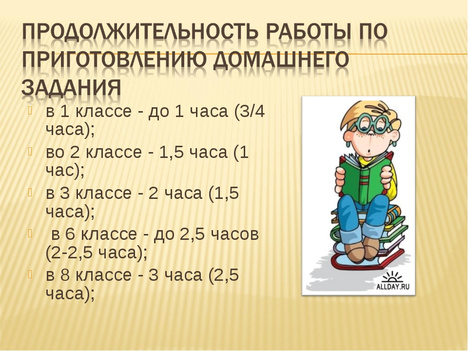 в 1 классе - до 1 часа (3/4 часа); во 2 классе - 1,5 часа (1 час); в 3 классе...