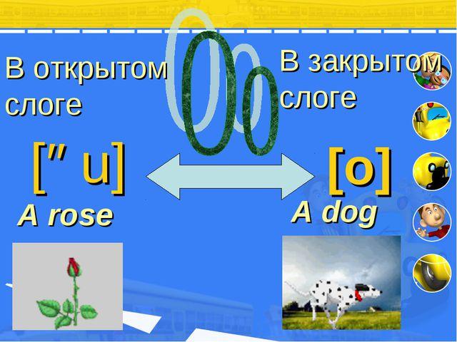 В открытом слоге В закрытом слоге [əu] [o] A ro se A dog
