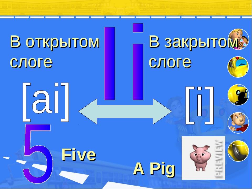 В закрытом слоге В открытом слоге A Pig Fi ve