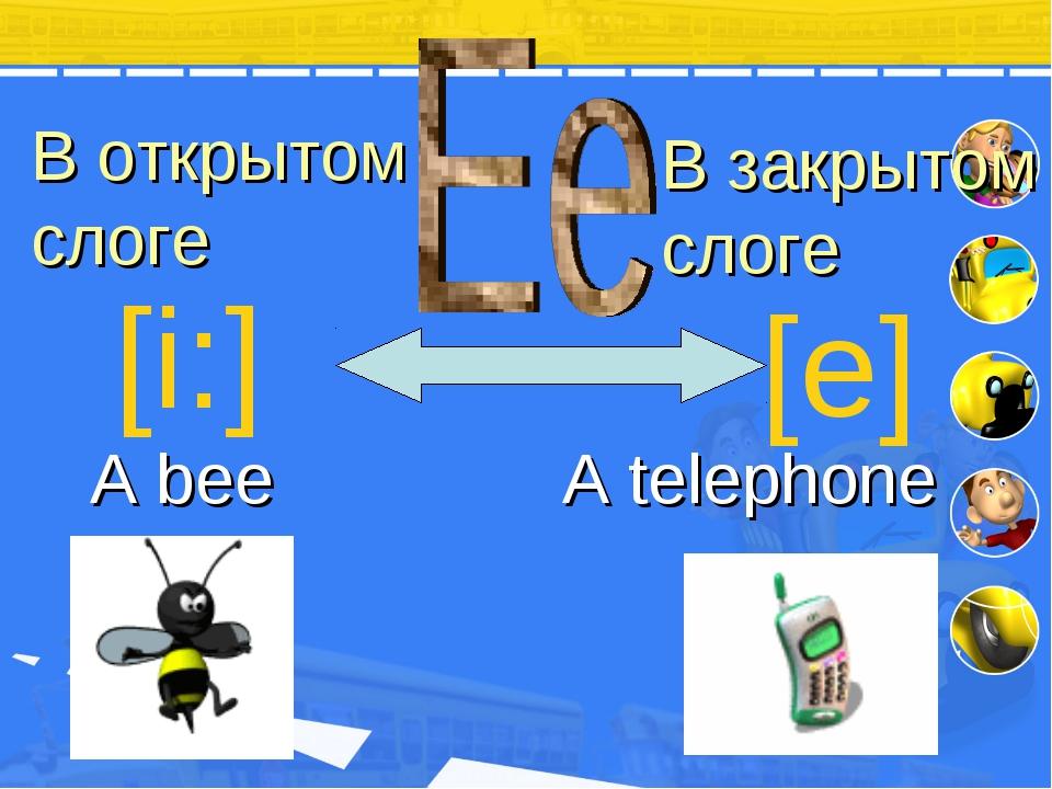 В открытом слоге В закрытом слоге [i:] [e] A bee A telephone