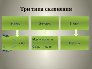 Три типа склонения 1- скл. М.р. – - а, - я Ж.р. – Ж.р – ь М.р. – согл., ь Ср.