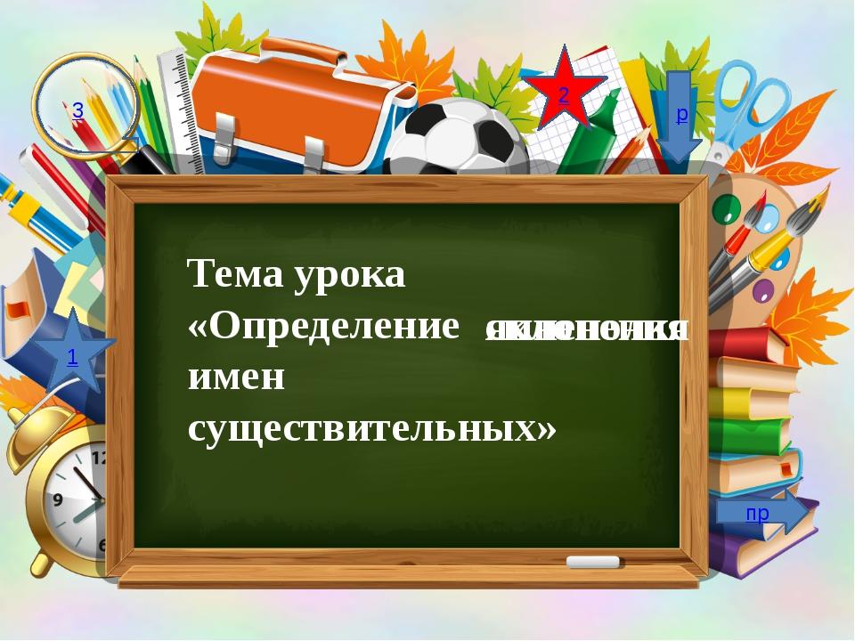 Тема урока «Определение имен существительных» яиненолкс склонения 1 2 3 р пр