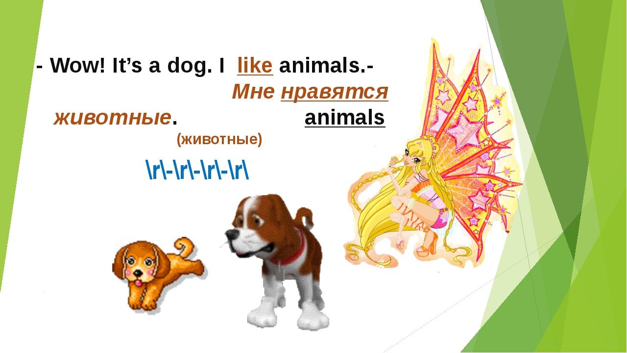 \r\-\r\-\r\-\r\ - Wow! It's a dog. I like animals.- Мне нравятся животные. an...