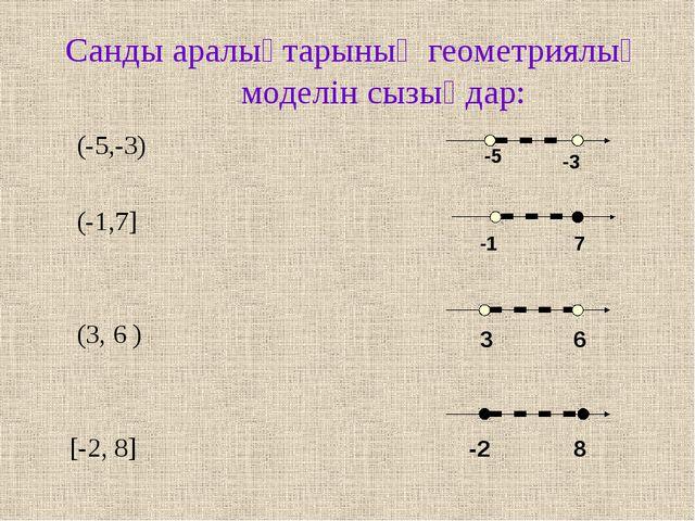 Санды аралықтарының геометриялық моделін сызыңдар: (-5,-3) (-1,7] (3, 6 ) [-2...