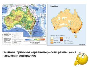 Выявим причины неравномерности размещения населения Австралии: